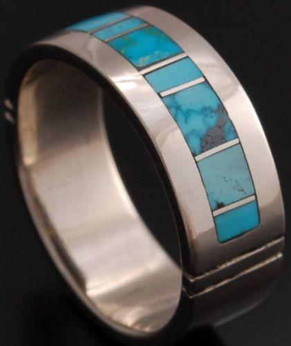 ZBM   14K White Gold  Turquoise Inlay Ring Band by Erick Begay - YJ92R