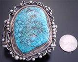 Large Stone Natural Kingman Turquoise Silver Navajo Bracelet  Betta Lee - VN60H