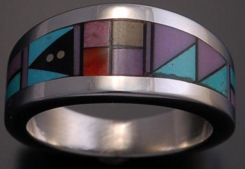 Size 7-1/4 - Silver Multistone Inlay Ring by Jim Harrison - EF32K