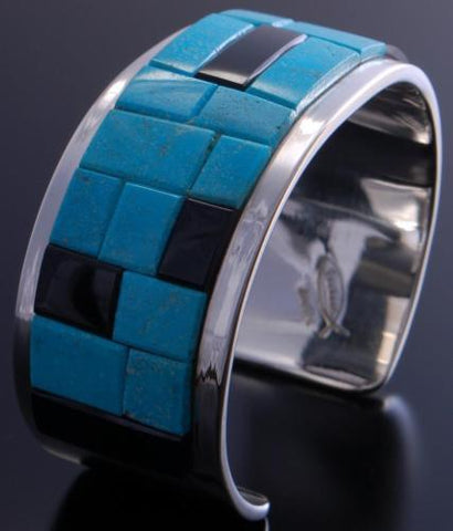 Silver Turquoise & Jet Soft Edge Navajo Inlay Bracelet by Tommy Jackson 7A27M