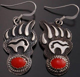 Coral Silver Bear Claw Earrings - Navajo made  RM91D