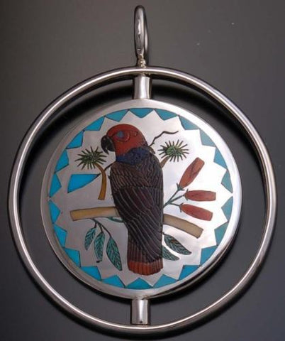 Reversible Silver Multistone Zuni Inlay Hawk Pendant by H.M. Coonsis- UA11L