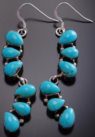 Silver Kingman Turquoise Two Pendant Earrings by Loretta Smith 7A07B