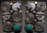 Silver Turquoise Pictograph Earrings by Alex Sanchez- UA11E