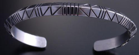 All Silver 3 Dimensional Arrow Bracelet by Erick Begay- NJ20Q
