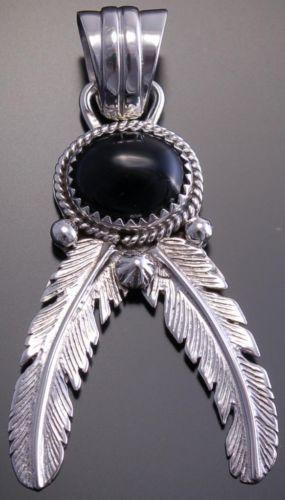 Silver Onyx Feathers Pendant by Grace Kenneth- NJ32X