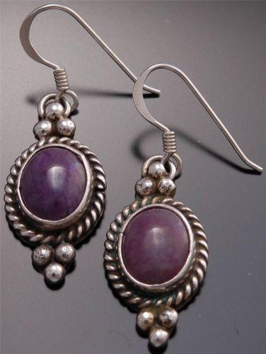 Silver Sugilite Round Earrings by Erick Begay - CD31O