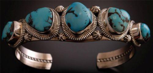 Beautiful Natural Turquoise Silver Bracelet by Thomas Francisco TO81T