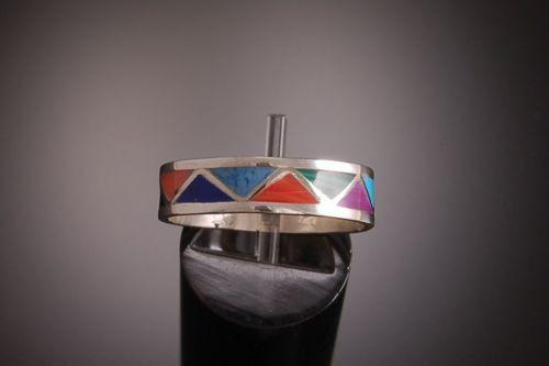 Size 9-1/4 ~  Multistone Inlay Ringband by Roger Morgan ~ NAVAJO HANDMADE  PS02A