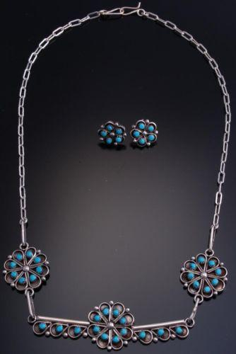 Silver Zuni Turquoise Floral Necklace Earring Set by Erline James - EF90T