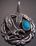 Silver Turquoise Eagle Pendant by Val Tsosie - AJ92H