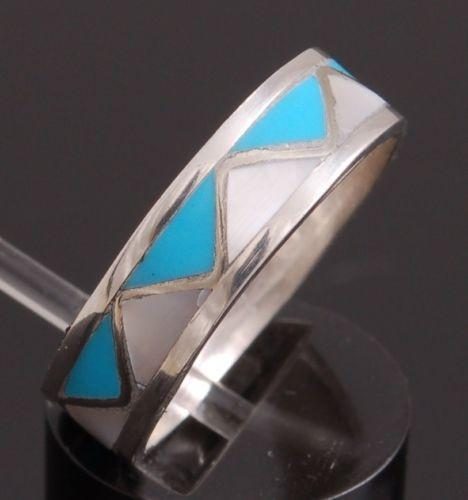 Turquoise & Mother of Pearl Inlay Band Ring ~ Navajo made ~ Assorted Sizes YJ41A