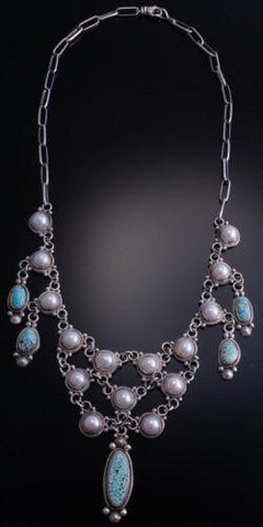 ZBM  Silver & #8 Spiderweb Turquoise Fresh Water Pearl Necklace by Erick Begay- NJ20A