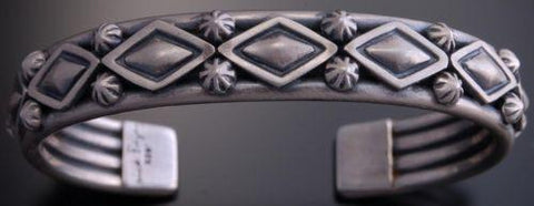 ZBM  Silver Matte Stamped Mens Bracelet by Erick Begay- AM72F