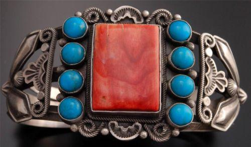 Vintage -style Spiny Oyster Shell Turquoise Square Silver Bracelet by Tom - TO22Q