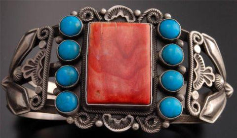 Vintage style Spiny Oyster Shell Turquoise Square Silver Bracelet by Tom - TO22Q