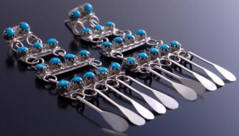Silver & Round Turquoise Four Tier Dangle Earrings by Henrietta Quetawki 7A28X