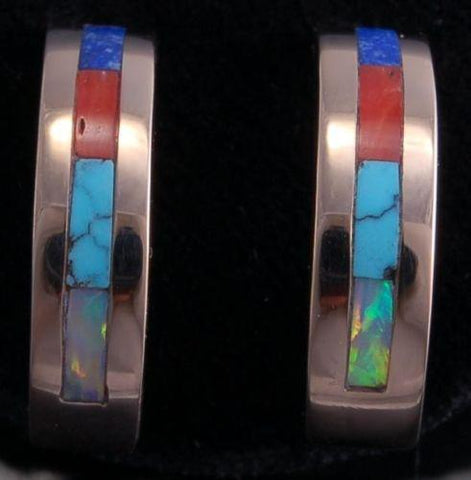 ZBM 14k Gold Multistone Half Hoop Inlay Earrings by Erick Begay- AM72N