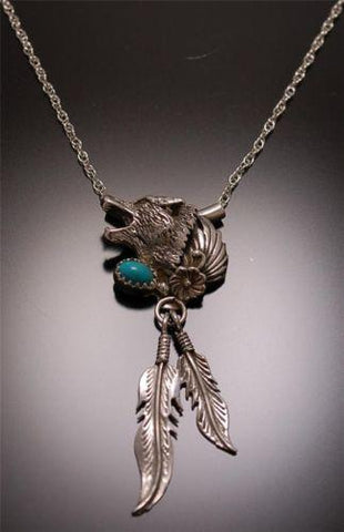 Wonderful Silver Howling Wolf & Turquoise Necklace ~ Navajo Handmade TO42D