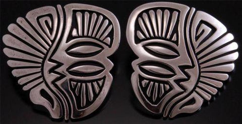 All Silver Overlay Shield Earrings by Stephen Begay ~ Navajo Handmade TO61E
