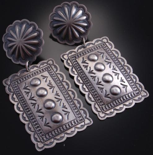 Silver Old Style Stamp Design Concho Earrings by Harris Joe 6L08E