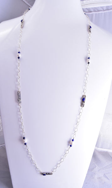 "42"" Silver & Lapis & Fresh Water Pearl Long Navajo Necklace by Erick Begay ZG31F"