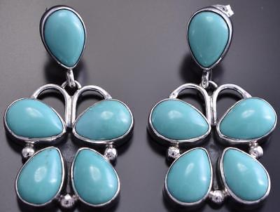 Silver & Turquoise Navajo Handmade Butterfly Earrings by D 8F18U