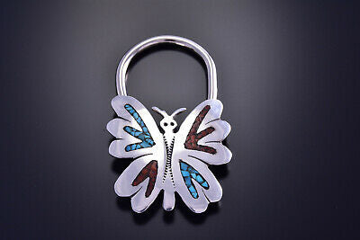 Silver Turquoise Wings Coral Eagle Navajo Chip Inlay Key Ring by J. Yazzie 9J15G