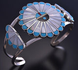 Zuni Sunface Mother of Pearl Bracelet by Adrian Wallace 9K03S