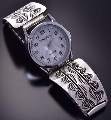 All Silver Navajo Handstamp Sunrises Men's Watch by Bruce Morgan ZA08Y