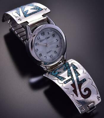 Silver & Turquoise & Coral Navajo Chip Inlay Women's Watch Joleen Yazzie ZA22C