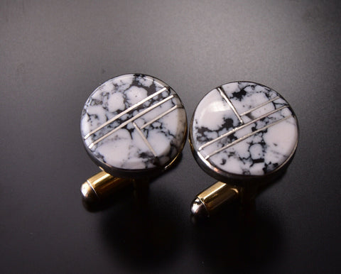 White Buffalo Turquoise Inlay Cufflinks by Arnold Yazzie 9M16R