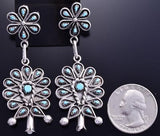 Silver & Turquoise Petty Point Flower Dangle Earrings by Tricia Leekity 8G09G