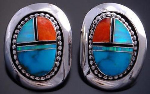 Multistone w/ Turquoise Inlay Round Earrings by Artist Irv Monte 7B14C