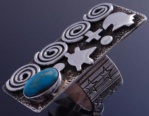 Size 7 Silver Turquoise Bear Petroglyphs Ring by Alex Sanchez 7B13A
