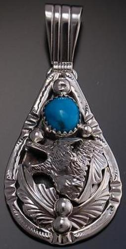 Silver Turquoise Howling Wolf Pendant by Henry Attakai LC07H