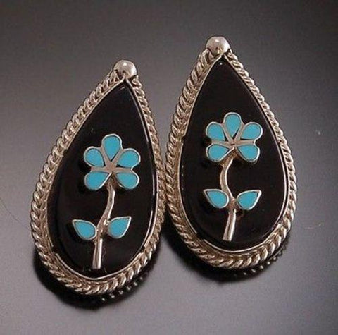 Black Jet and Turquoise Flower teardrop - Earring by Lalio - 7C08M