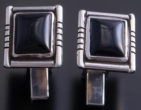 Silver & Onyx Square Solid Cuff Links by Erick Begay 7C04R