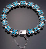 15 Turquoise Flower Link Bracelet by Janice Lonjose Sterling Silver - 9M13A