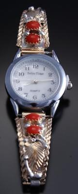 Silver & Gold Filled Mediterranean Coral Navajo Women's Watch by Virginia 7J21T