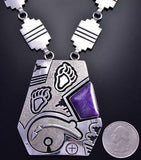 Preowned Silver & Sugilite Bear Strength Navajo Necklace by JT 9F26A