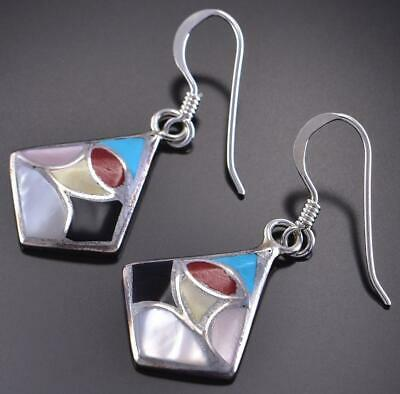 Silver & Turquoise Multistone Zuni Inlay Earrings by Orena Leekya 1C17S