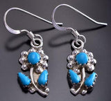 Silver & Turquoise Zuni Inlay Flowers Earrings by Erva Quam 9B28V