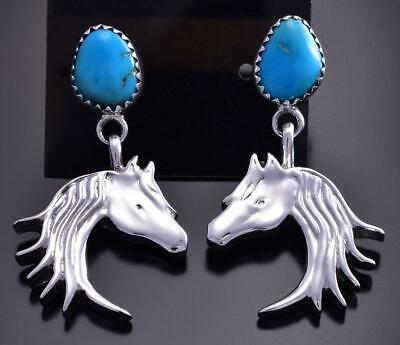 Silver & Turquoise Navajo Handmade Horse Earrings by Annie Spencer 9B26T