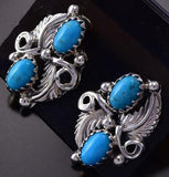 Sleeping Beauty Turquoise Double Feather Navajo Handmade Earrings by R.B. ZG24Z