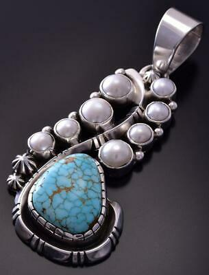 Silver & #8 Spiderweb Turquoise & Fresh Pearl Navajo Pendant Erick Begay ZC19B