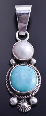 Silver & Turquoise & Fresh Water Pearl Navajo Pendant by Erick Begay 8E08N