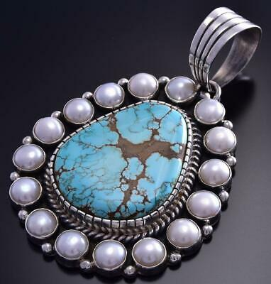 #8 Spiderweb Turquoise & Fresh Water Pearl Border Pendant Erick Begay 9H01A