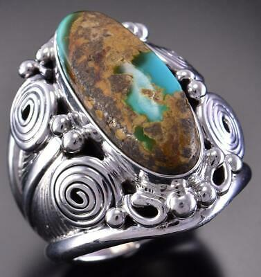 Size 10 Silver & Turquoise Four Worlds Navajo Men's Ring Darryl Morgan 1B08Z