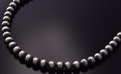 "30"" All Silver Navajo Pearls Long Necklace by Jan Mariano ZC03X"